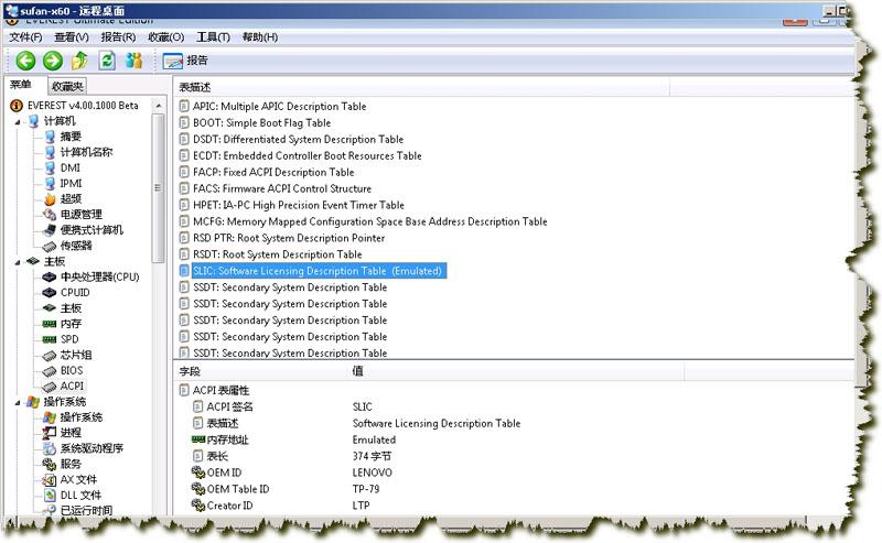 Lenovo ThinkPad X60 OEM Vista SLIC Infomation